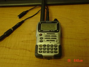 Yaesu-VX7R with a CT-91 cable attached.
